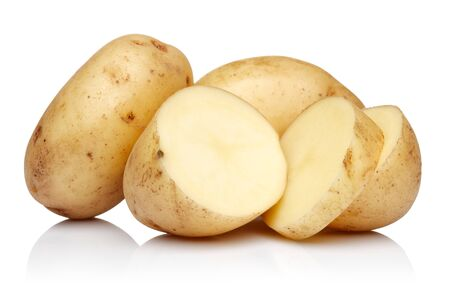 Fresh potatoes with slices isolated on white background