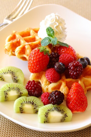 Waffles with fruit photo