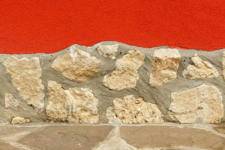 Outdoor Wall Decor With Colorful Rugged Plaster And Stone ...
