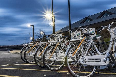 UTICA, NY, USA - JAN. 22, 2018: Zagster Bike Share at Utica Historic Marina or as locally known as Aqua Vino Located on 16 Harbor Lock Rd E, Utica, NY, USA. Editorial
