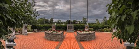 NEW HARTFORD, NEW YORK, USA - 23 JUNE, 2018: Panorama View of New Hartford Veteran Memorial Located at 11 Evalon Rd, New Hartford, NY 13412