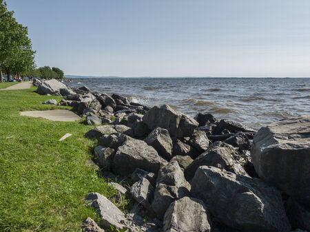 SYLVAN BEACH, NEW YORK - JUNE 23, 2019: People at Sylvan Beach (Oneida Lake) in Upstate New York. Stock Photo
