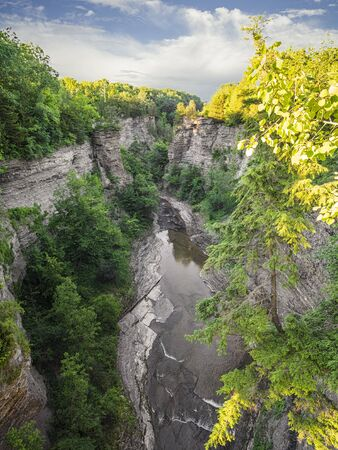 Taughannock Falls found in the Finger Lakes (Cayuga) region of upstate New York. The main fall is higher than that of Niagara Falls.