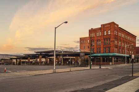 UTICA, NEW YORK - APR 22, 2019: View of the Centro Hub bus ststation located at 15 Elizabeth St, Utica, NY 13501.