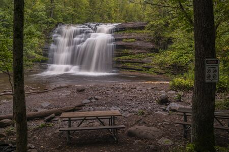 Landscape View of the Main Cascade of Pixley Falls with Seat Bench in Foreground
