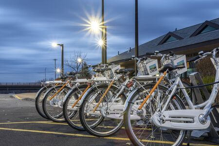 UTICA, NY, USA - JAN. 22, 2018: Zagster Bike Share at Utica Historic Marina or as locally known as Aqua Vino Located on 16 Harbor Lock Rd E, Utica, NY, USA. Redakční