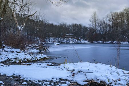 Winter View on an Overcast Day on West Canada Creek where It Unites with the Mud and Cincinnati Creeks, Barneveld, New York
