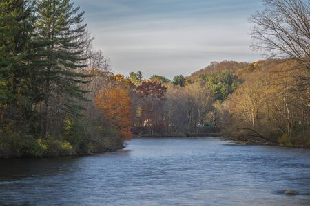 A Closeup Horizontal Autumn View during Sunset of the West Canada Creek Meander at Barneveld, New York