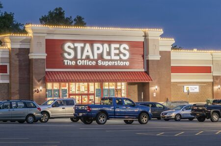 NEW HARTFORD, NEW YORK - AUG 16, 2019: Staples Location. Staples is a multinational retain office supply chain with over 1500 location in the US.