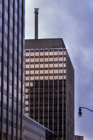 SYRACUSE, NY - JAN 14, 2020: Architectural View of Axa Towers and Bowers and Company.