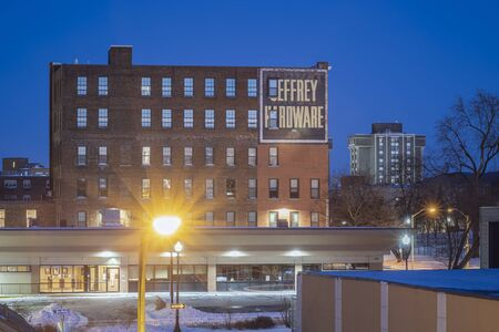 UTICA, NEW YORK - JAN 20, 2012: Night View of Whiffen Robyat Building, Listed on the National Register of Historic Places, Located on 327 Bleecker St, Utica NY 13501.