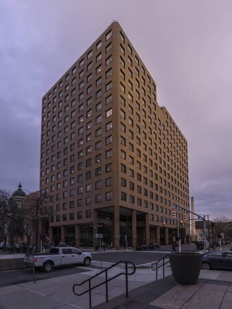 SYRACUSE, NEW YORK- JAN 14, 2020: Vertical Full View of Civic Center Tower. Redakční