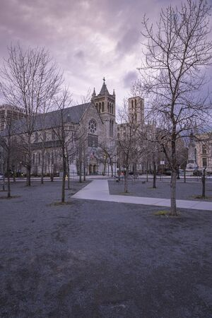 SYRACUSE, NEW YORK - JAN 14, 2020: Wide Angle View of the Cathedral of Immaculate Conception in Syracuse, New York.