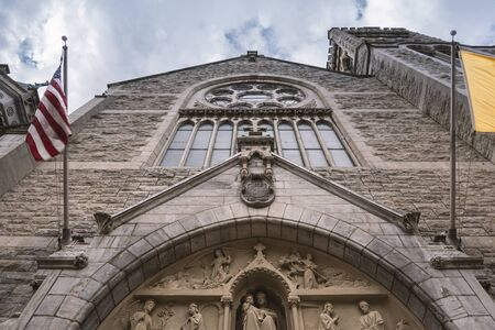 SYRACUSE, NEW YORK - JAN 14, 2020: Low Angle View of the Cathedral of Immaculate Conception in Syracuse, New York.