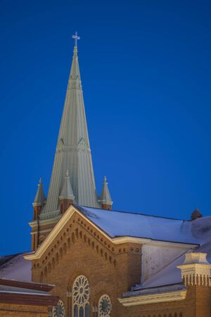 UTICA, NEW YORK - JAN 20, 2020: Closeup View of Saint Johns Catholic Church Pinnacle, located at 240 Bleecker St, Utica, NY 13501. Redakční
