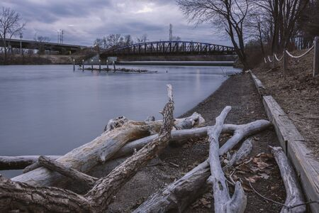 Long Exposure View of Moahwk River at Bellamy Harbor State Park in Rome, New York