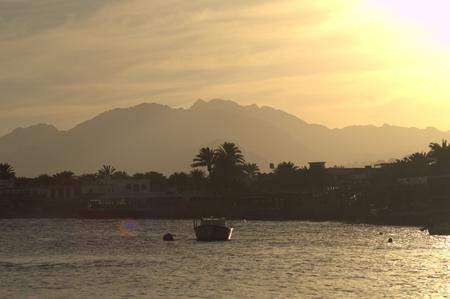 dahab: Sunset on Dahab shore, Mountains Background, palms background Sinai, Egypt, Peace of mind, relaxation