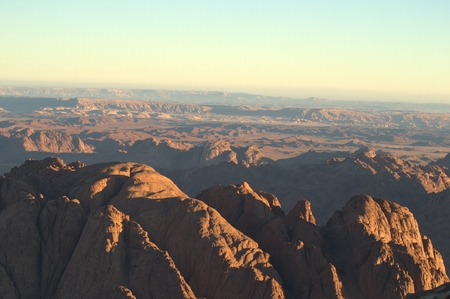 catherine: Sunrise on hills, Shot from Moses Mountain, the second highest point in Egypt, mountains view, Saint Catherine, Egypt Stock Photo