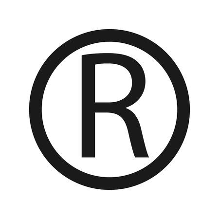 Icono de símbolo de marca registrada, letra R