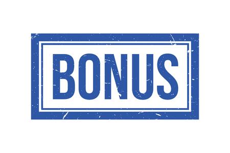 Bonus rubber vector stamp, blue bonus vector icon Illustration