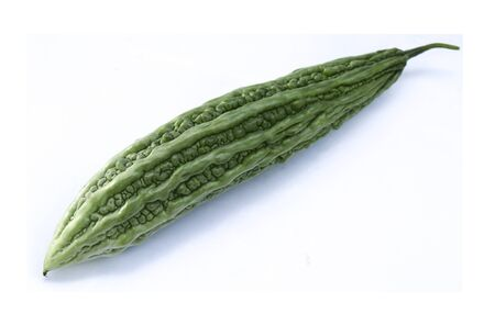 Balsam pear, Bitter cucumber or Bitter gourd on white background