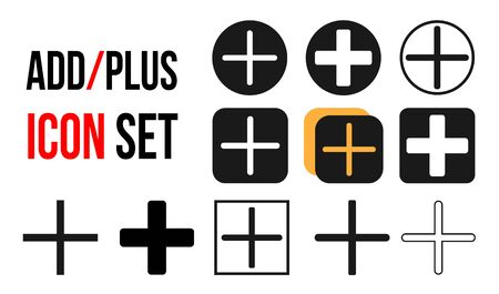 Add icon set flat vector illustration, plus icon set - vector