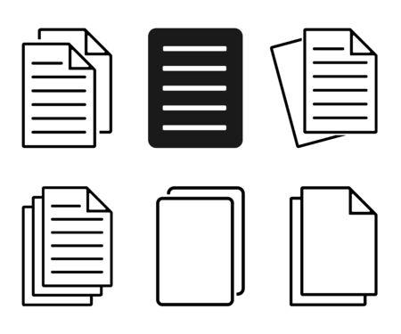 Paper Icon Set, File Duplicate Icon, Document Icon Vector Illustration – Vector