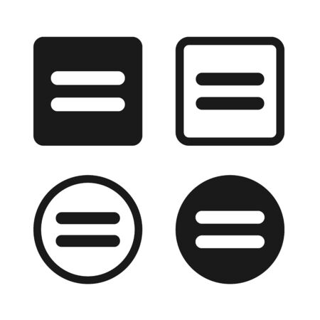 Flat Equal Icon Set Symbol Illustration – Vector