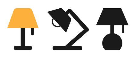 Flat Lamp Icon Set Symbol Illustration Design – Vector