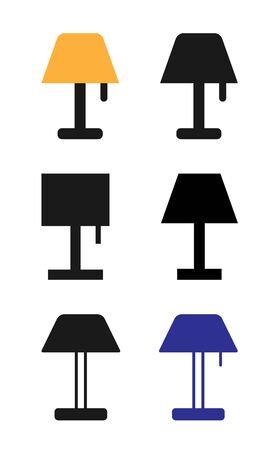 Lamp Icon Set Vector Illustration. Flat Lamp Icon Sign