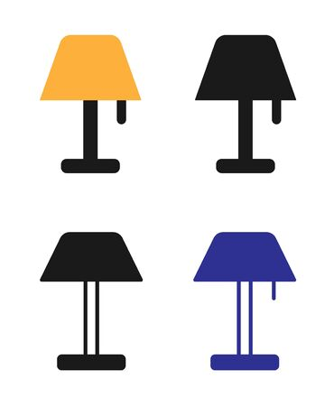 Lamp Icon Set Vector Sign In White Background