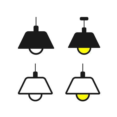 Flat Lamp Icon Set Sign Vector Illustration – Vector Illustration