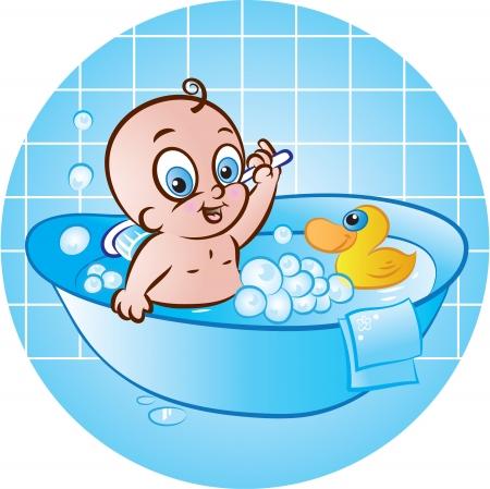 boy bath: vector illustration of cute baby boy taking a bath in tub Illustration