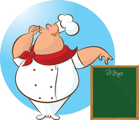 approving: vector illustration of chef giving  an approving gesture and showing menu board Illustration