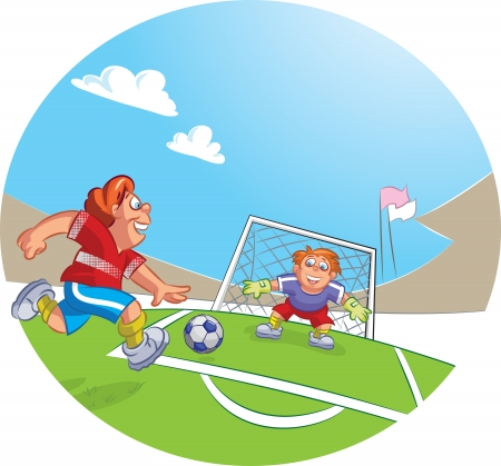 goal keeper: Vector illustration of a goal keeper and soccer player boy dribbling a soccer ball