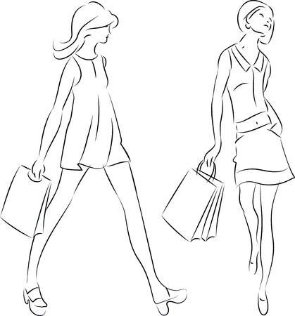 Vector Illustration of Women with Shopping Bags