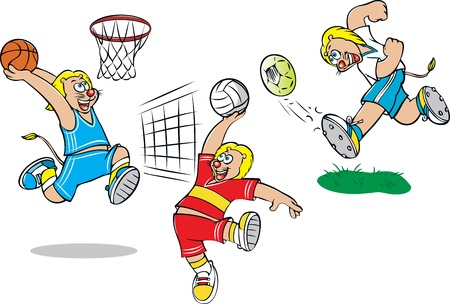 vector illustration of  lion doing various sports Vector