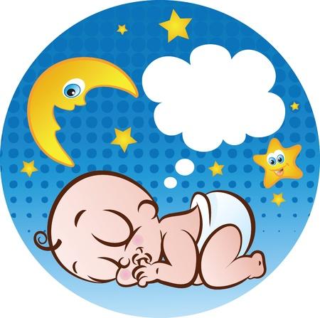 Vector illustration d'un petit garçon mignon de sommeil sucer son pouce dans la couche