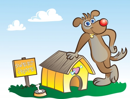 vector illustration of a dog posing at his own house Vector