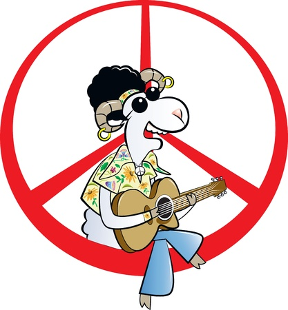 plucking an instrument: vector illustration of a hippie ram character with afro hair, dark glasses sitting on peace sign, playing acoustic guitar singing song