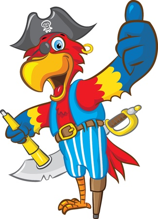 vector illustration of  a pirate parrot mascot doing thumbs up  Vector