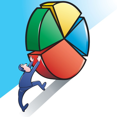 sisyphus: Vector Illustration of a Businessman pushing upward a Giant Pie Chart