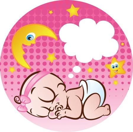 illustration vectorielle d'un mignon bébé endormi dans la couche de sucer son pouce