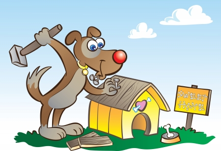 vector illustration of a dog building his own house