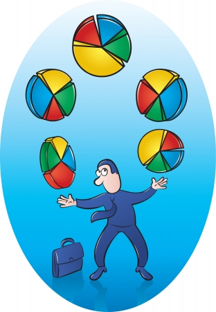 sucsess: Illustration of Businessman juggling Pie Charts Illustration