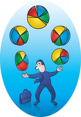 stressed people: Illustration of Businessman juggling Pie Charts Illustration