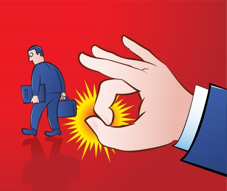 comb out: illustration of a giant hand flicking away an employee