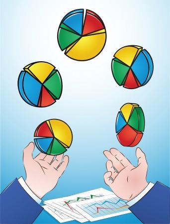 Illustration of Businessman juggling Pie Charts  イラスト・ベクター素材