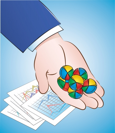 therapist: illustration of a handful of pie chart pills