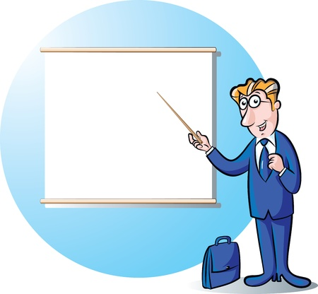 projection screen: illustration of businessman presenting in the front of projection screen